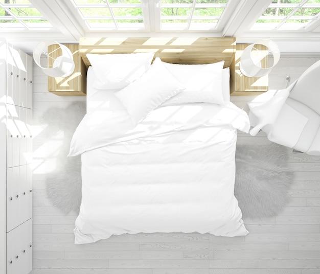 Realista habitación doble con muebles y grandes ventanales en la vista superior