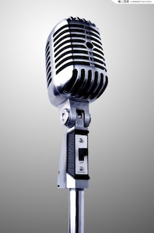 Realista vendimia micrófono en capas psd