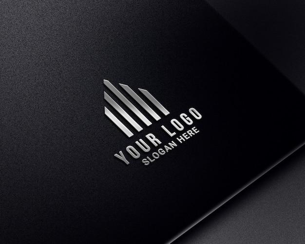 Realistic luxury silver logo mockups