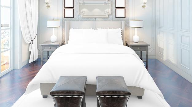Realistica elegante camera matrimoniale con mobili e grandi finestre