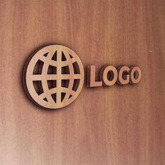 Realistico effetto legno 3d logo mockup