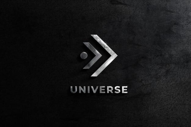 Realistico logo mockup wall in acciaio con sfondo nero texture