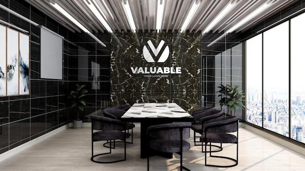Realistisch 3d bedrijfslogo mockup in zakelijke vergaderruimte op kantoor