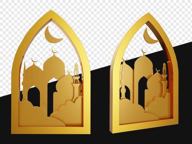 Realistisch 3d embleem van gouden vormen met geïsoleerde moskee
