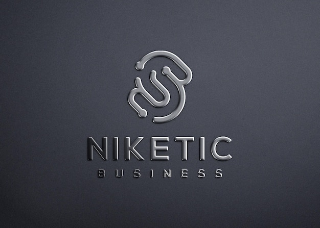 Realistisch 3d-logo mockupontwerp van zilvermetaal