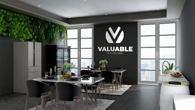 Realistisch 3d-logo muurmodel in de kantoorrestaurantkamer