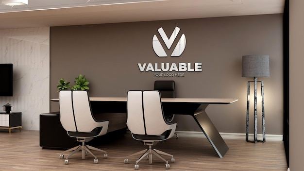 Realistisch 3d-logomodel in kantoormanagerkamer met bruine muur