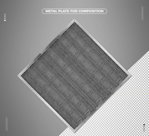 Realistisch 3d metalen driehoekig raster voor compositie