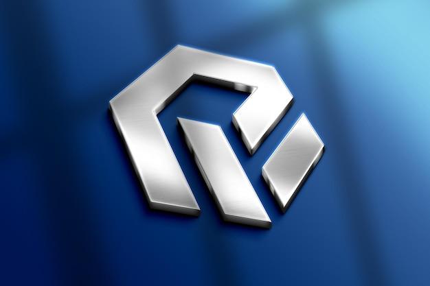 Realistisch 3d metalen logo mockup