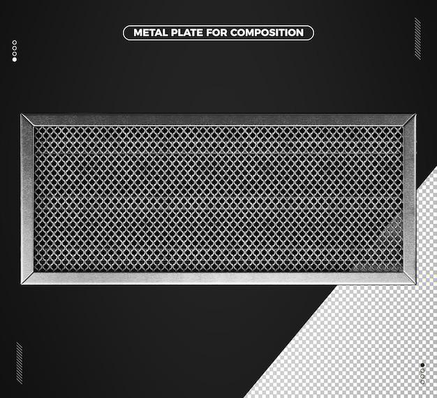 Realistisch 3d metalen vierkant raster voor compositie