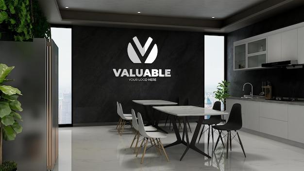 Realistisch 3d-model met bedrijfsmuurlogo in modern cafébar-interieur of pantryruimte op kantoor