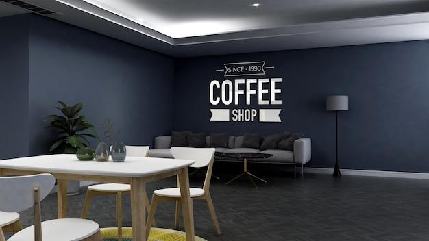 Realistisch 3d-muurlogomodel in de coffeeshop met bank with