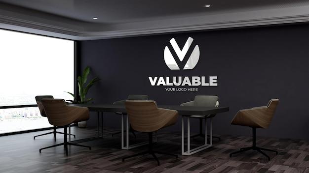 Realistisch 3d-muurlogomodel in de zakelijke vergaderruimte op kantoor
