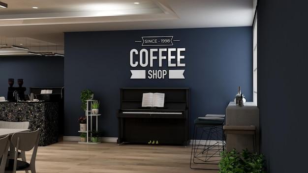 Realistisch 3d-muurlogomodel in het café met piano