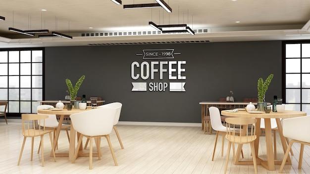 Realistisch 3d-muurlogomodel in modern café-barinterieur Premium Psd