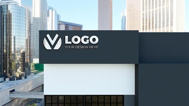 Realistisch 3d-tekenlogo-model in bedrijfsgebouw