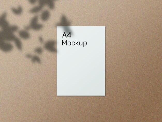 Realistisch a4-papiermodel met overlay-shado