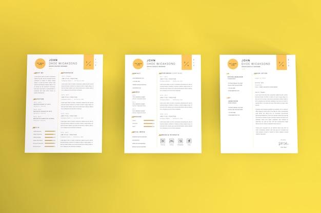 Realistisch briefformaat curriculum vitae mockup tempate