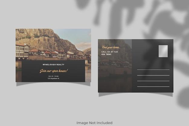 Realistisch briefkaartmodelontwerp met schaduwoverlay
