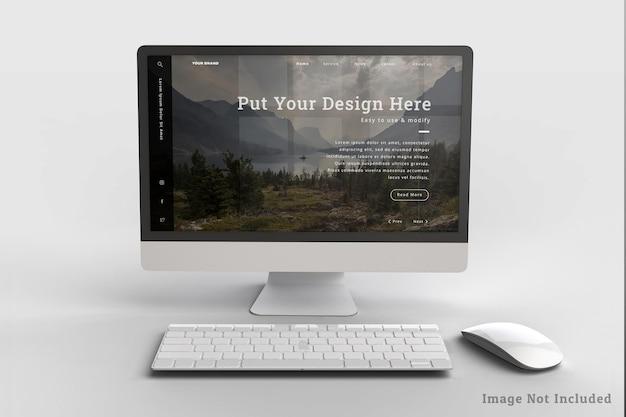 Realistisch desktopontwerp mockup-ontwerp