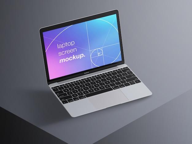 Realistisch drijvend macbook-laptopschermmodel