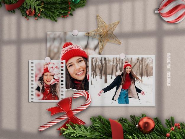 Realistisch en minimalistisch moodboard-mockup of papieren fotolijst-mockup voor prettige kerstdagen en gelukkig nieuwjaar