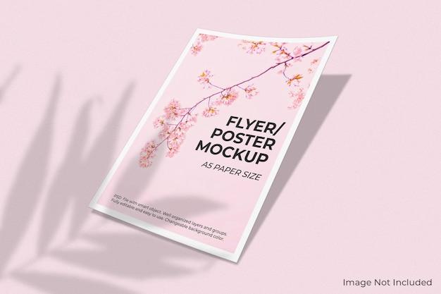 Realistisch flyer-brochuremodel met schaduwoverlay Premium Psd