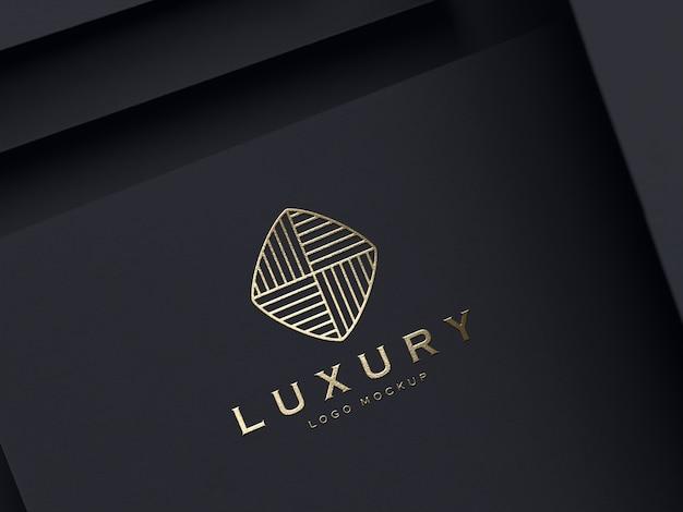 Realistisch goud reliëf luxe logo mockup