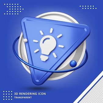 Realistisch idee pictogram in 3d-rendering geïsoleerd