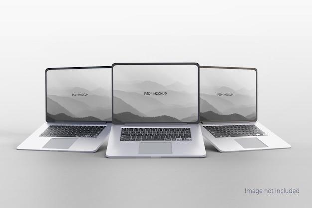 Realistisch laptopmodelontwerp op grijs