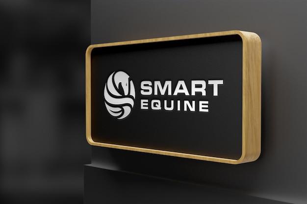 Realistisch logomodel op houten bewegwijzering Premium Psd