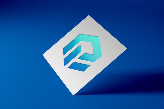 Realistisch logomodel op papieren kaart