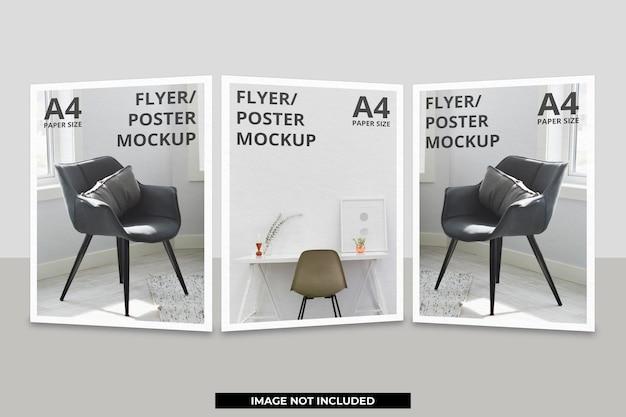 Realistisch mockupontwerp voor papieren of flyerbrochures