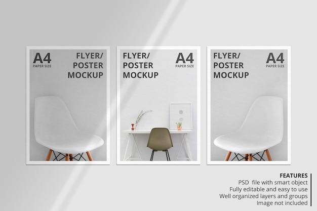 Realistisch mockupontwerp voor papieren of flyers met schaduwoverlay