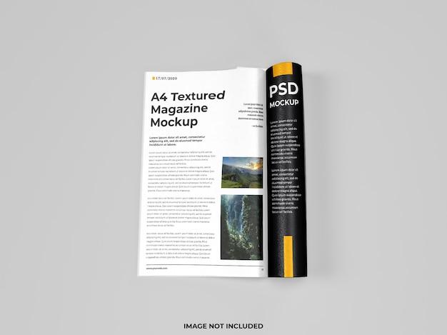 Realistisch open tijdschrift gevouwen mockup bovenaanzicht