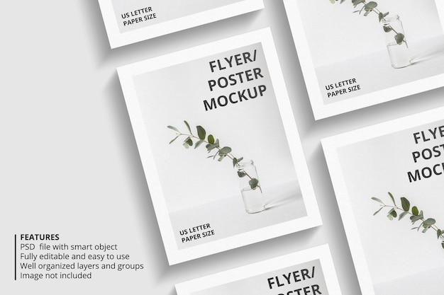 Realistisch papier of flyer brochure mockup-ontwerp