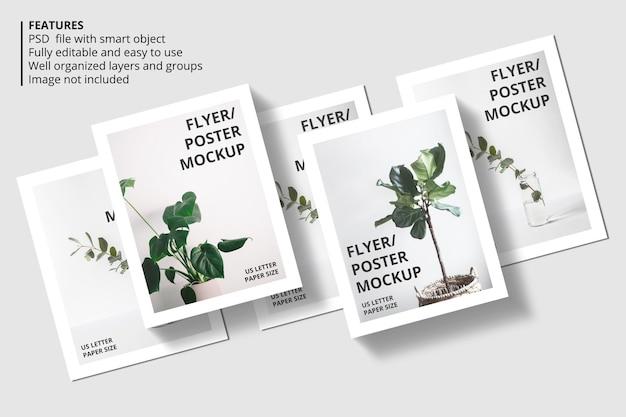 Realistisch papier of flyer mockup-ontwerp