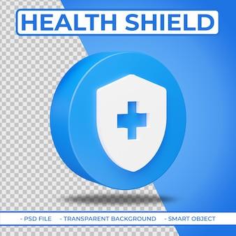 Realistisch plat 3d gezondheidsschildpictogram geïsoleerd