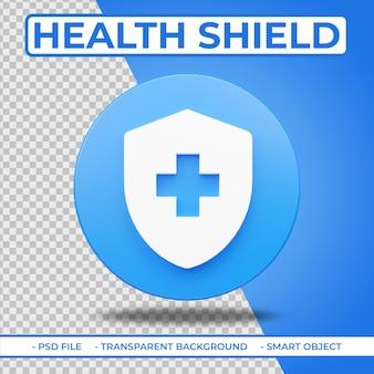 Realistisch plat 3d-pictogram gezondheidsschild geïsoleerd