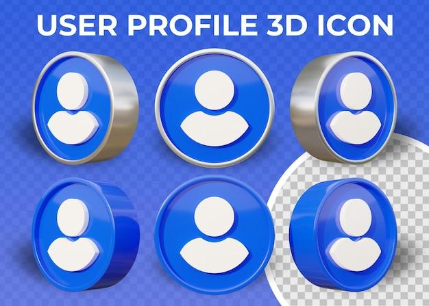 Realistisch plat gebruikersprofiel geïsoleerd 3d pictogram