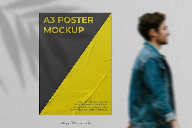 Realistisch postermodel met schaduwoverlay