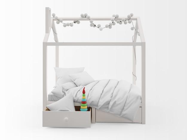 Realistisch schattig kinderbed met huisvorm