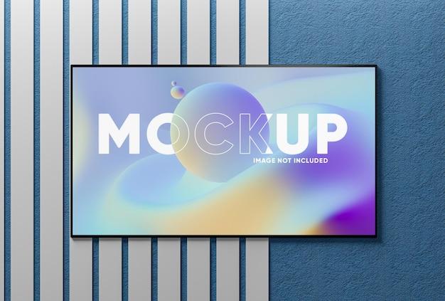 Realistisch tv-schermmodel op muur