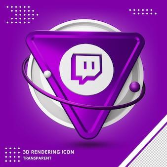 Realistisch twitch 3d-logo in 3d-rendering