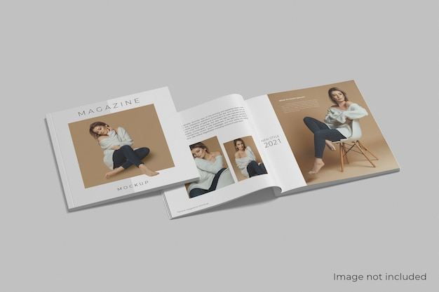 Realistisch vierkant tijdschriftmodel geïsoleerd