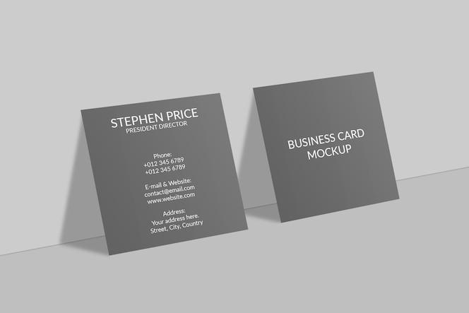Realistisch vierkant visitekaartje mockup-ontwerp