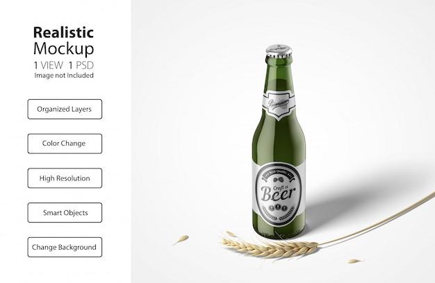 Realistisch vooraanzicht van mockup voor bierflesverpakkingen