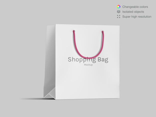 Realistisch vooraanzicht winkelen papieren zak mockup sjabloon
