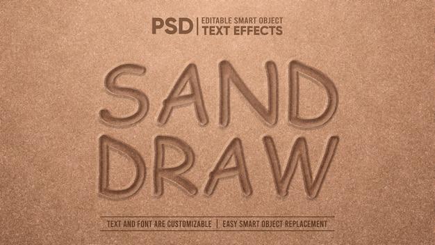 Realistisch zand tekenen 3d bewerkbaar teksteffect
