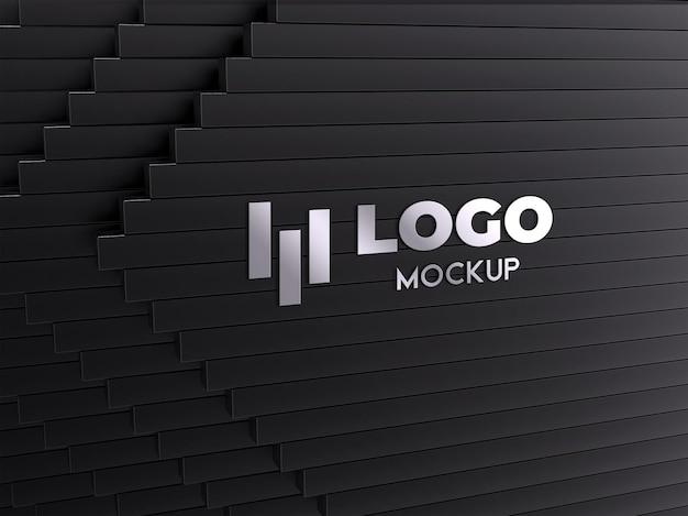 Realistisch zilveren logo mockup-ontwerp
